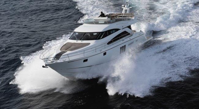 Fairline Yacths Squadron with hardtop and open exterior
